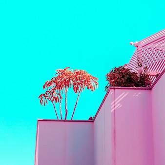 Rośliny na różowo. koncepcja tropikalnej mody