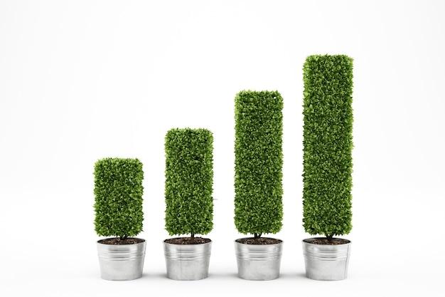 Rośliny na wazonach jako wykres statystyczny. rozwój koncepcji ekonomicznej renderowanie 3d