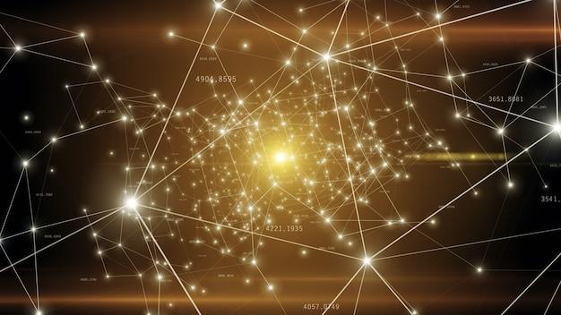 Rosnąca globalna sieć i połączenia danych latające w przestrzeni technologicznej
