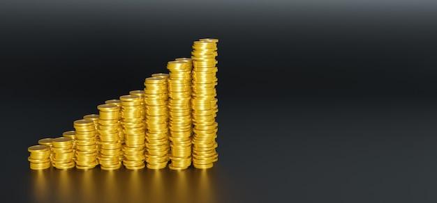 Rosnąca góra złotych monet na czarnej powierzchni i odbiciach