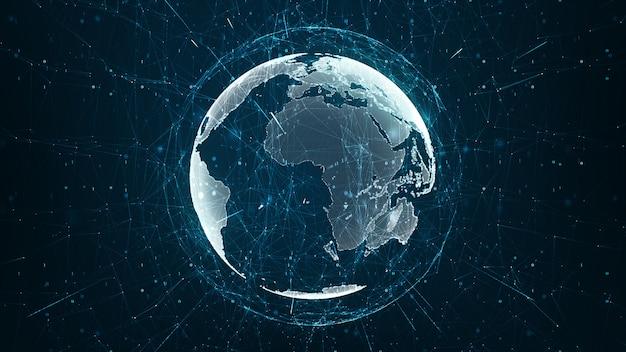 Rosnąca koncepcja globalnej sieci i połączeń danych.