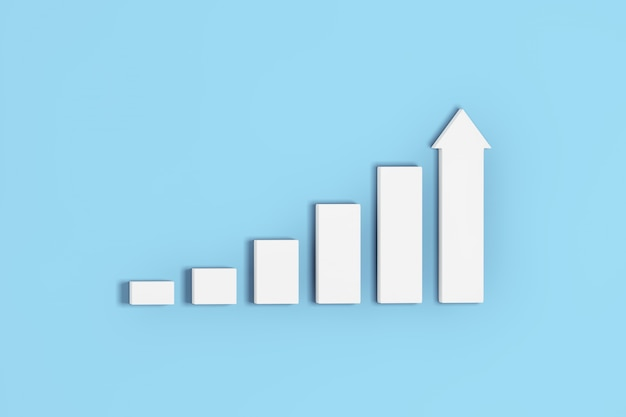 Rosnące słupki i wykres wykresu strzałkowego na niebieskim tle. renderowanie 3d