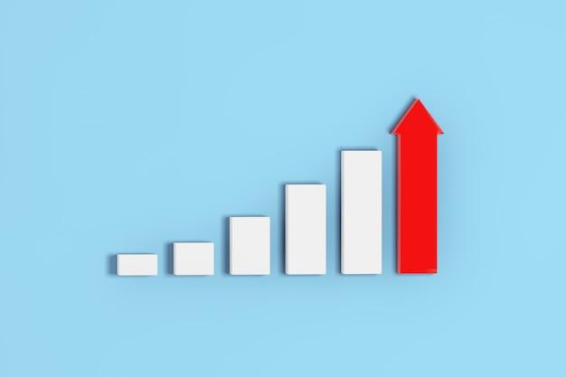 Rosnące słupki i wykres wykresu z czerwoną strzałką na niebieskim tle. renderowanie 3d
