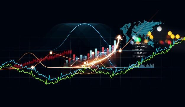 Rosnący wirtualny hologram wykresu statystyk i wykresu zysk z inwestycji
