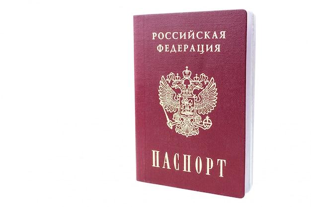 Rosyjski paszport na białym tle