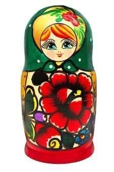 Rosyjskie drewniane lalki matrioszka na białym tle na białym tle.