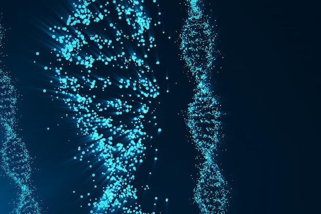 Rotating dna, koncepcja naukowa inżynierii genetycznej, niebieski odcień. renderowania 3d