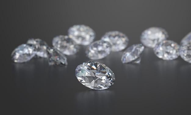 Round diamonds grupa umieszczająca na ciemnym glansowanym tle, 3d rendering, miękka ostrość.