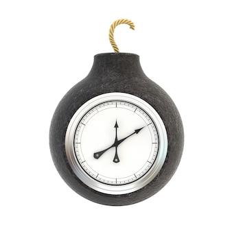 Round stara bomba zegarowa odizolowywająca na białym tle.