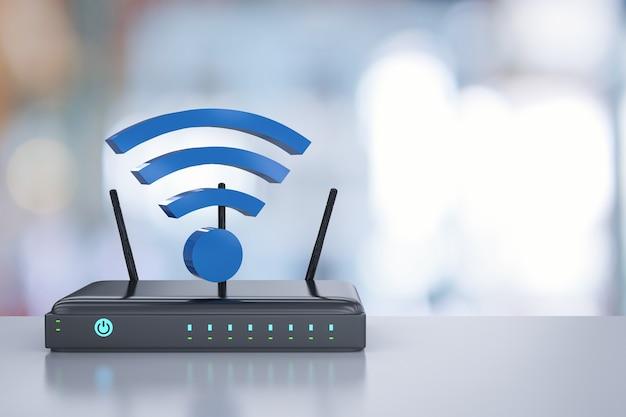 Router renderujący 3d z niebieskim znakiem wi-fi