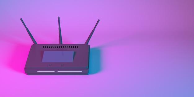 Router wi-fi w zbliżeniu światła neonowego