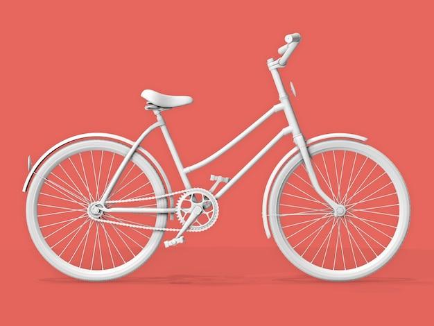 Rower na pastelowym tle różowym (łososiowym)