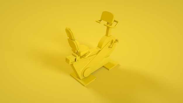 Rower treningowy fitness na żółto. renderowanie 3d.