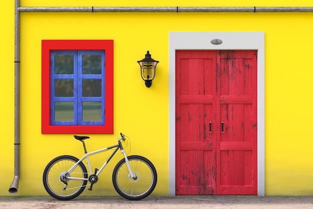 Rower zaparkowany przed budynkiem retro vintage european house z czerwonymi drzwiami, niebieskim oknem i żółtą ścianą, wąska scena uliczna ekstremalne zbliżenie. renderowanie 3d