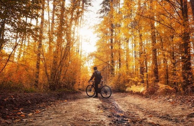 Rowerzysta stoi w świetle dziennym na ścieżce w marzycielskim jesiennym lesie. piękny jesienny krajobraz.