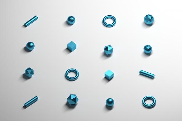 Równomiernie rozmieszczone małe prymitywne kształty poligonalne z metaliczną niebieską teksturą układającą się na białej powierzchni odbijającej.