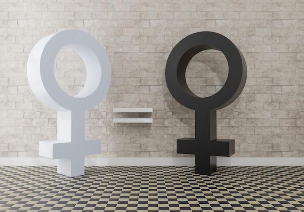 Równość między białymi i czarnymi kobietami. czarno-biały symbol kobiety