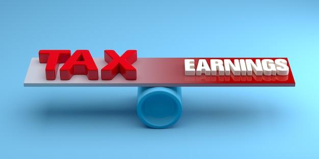 Równoważenie między zarobkami a podatkiem w koncepcji biznesowej. renderowanie 3d