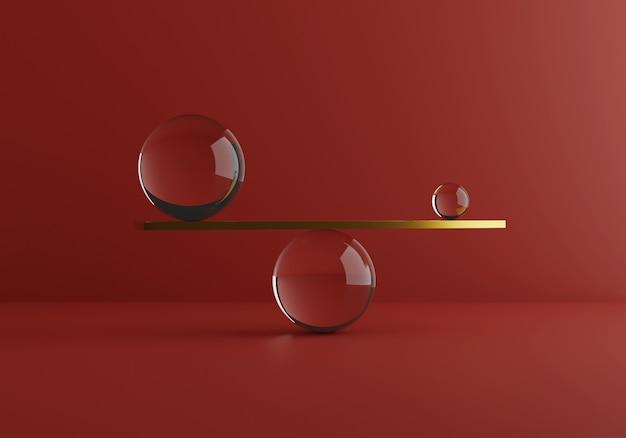 Równoważenie minimalnych kształtów, złota i materiałów szklanych. porównanie wagi. renderowania 3d. wysokiej jakości ilustracja 3d