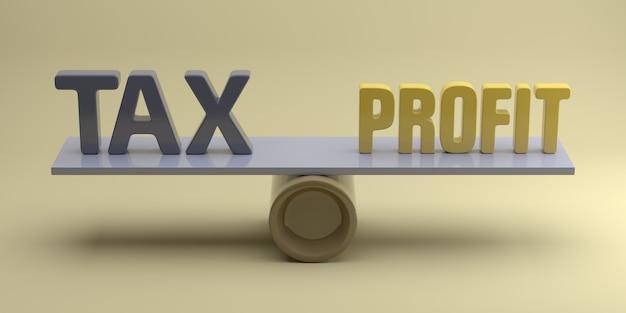 Równoważenie zysku i podatku w koncepcji biznesowej. renderowanie 3d