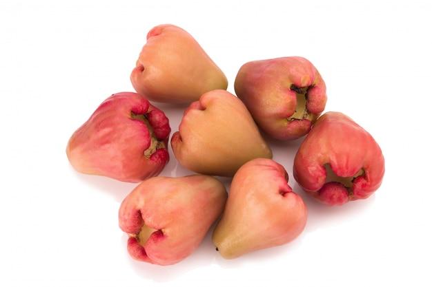 Różani jabłka odizolowywający na białym tle