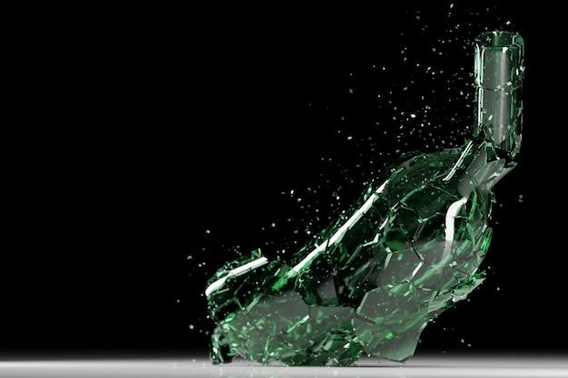 Rozbita butelka na białym tle na czarnym tle. ilustracja 3d