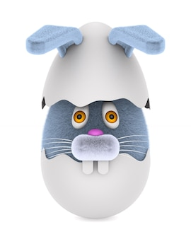 Rozbite jajko i królik na białym tle. izolowane ilustracji 3d