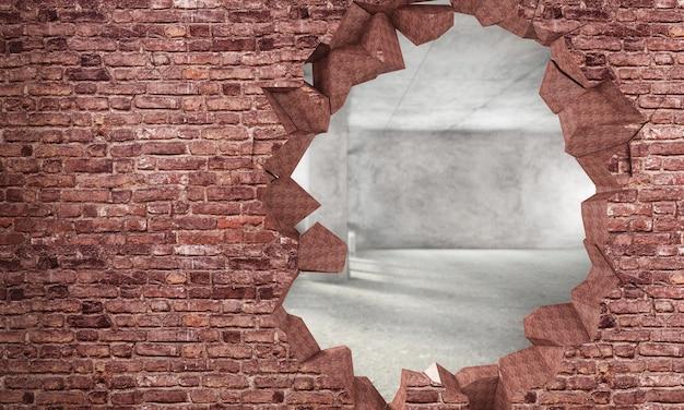 Rozbity mur z czerwonej cegły z dużym otworem z widokiem na pokój