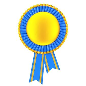 Rozeta wstążki golden blank award na białym tle. renderowanie 3d.