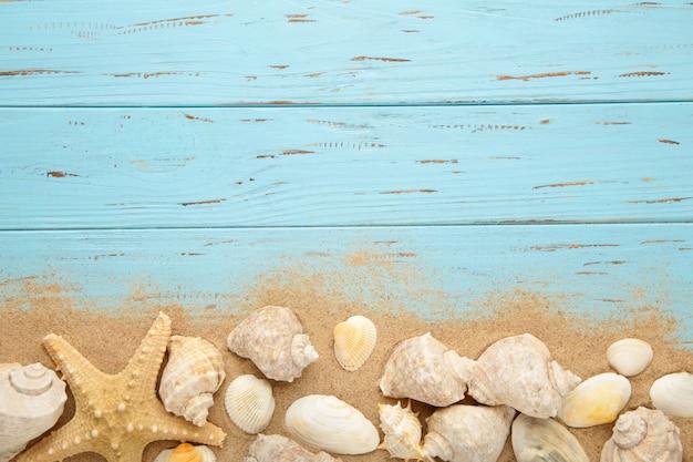 Rozgwiazda i seashells z piaskiem na drewnianym tle. koncepcja lato