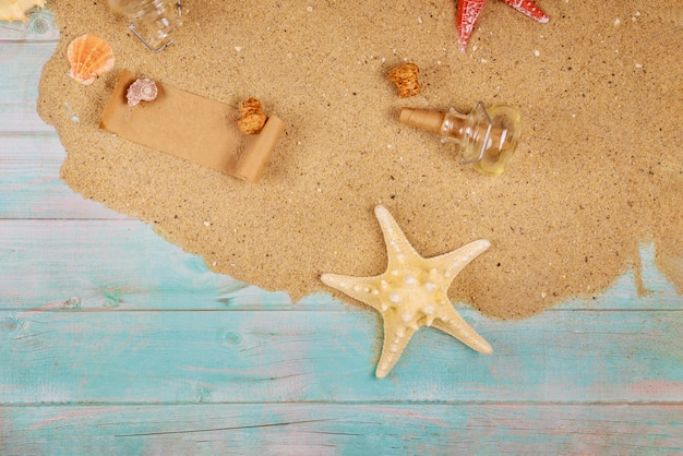 Rozgwiazda z seashells na dennym piasku