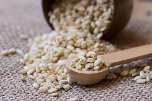 Rozlane ziarna brązowego ryżu rozrzucone na worze, drewnianej misce i łyżce