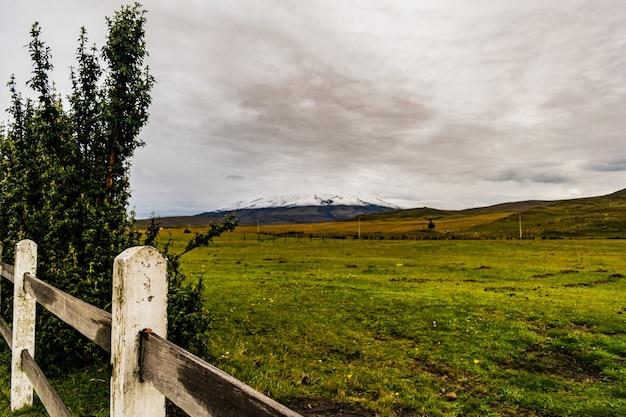 Rozległa zielona dolina z drewnianymi płotami, górami i zachmurzonym niebem