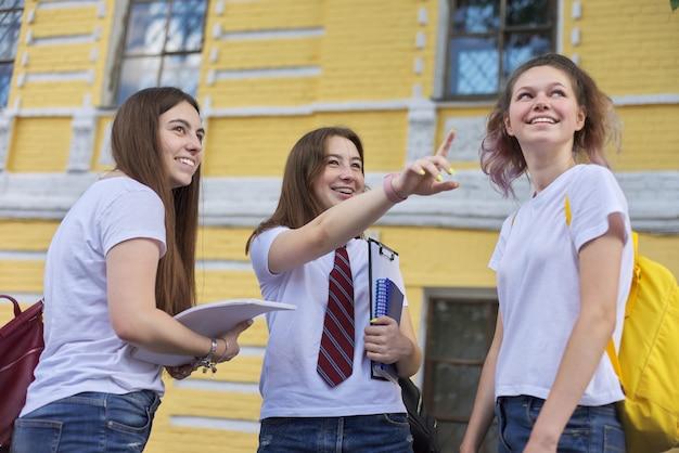 Rozmowa Grupa Dziewcząt Studenckich, Nastoletnich Studentów College'u W Pobliżu Budynku Z Cegły. Powrót Na Studia, Początek Zajęć, Edukacja, Liceum Premium Zdjęcia