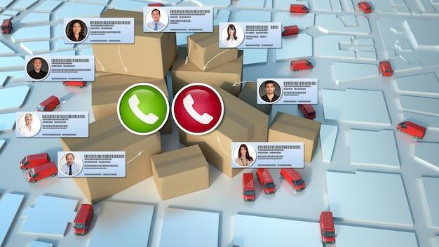 Rozmowa wideo odbywająca się w kontekście handlu elektronicznego i dystrybucji