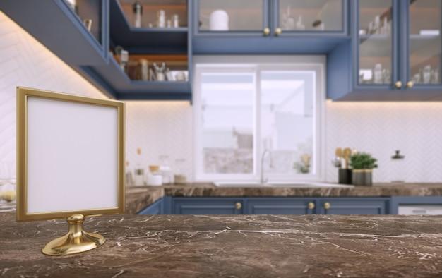 Rozmycie tła w kuchni z pustym menu.