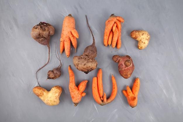 Różne brzydkie warzywa buraki ziemniaczane i marchewkowe na szarym teksturowanym tle widok z góry