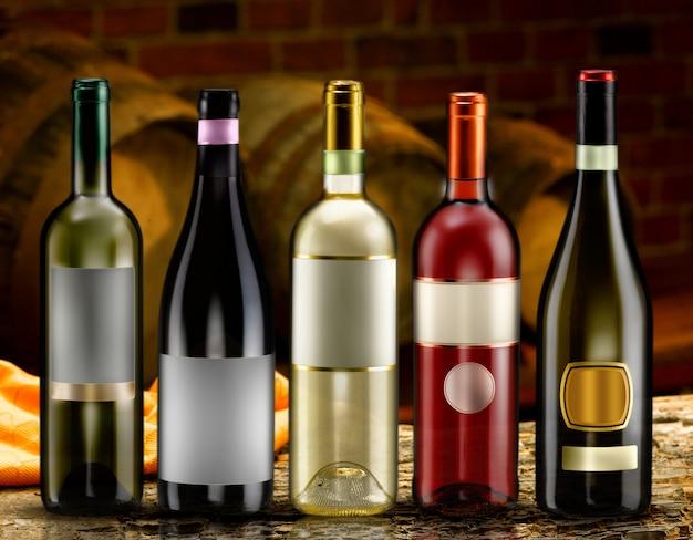 Różne butelki wina w piwnicy degustacyjnej