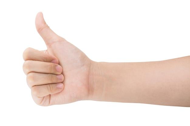 Różne gesty i znak kobiecej ręki na białym tle ze ścieżką przycinającą.