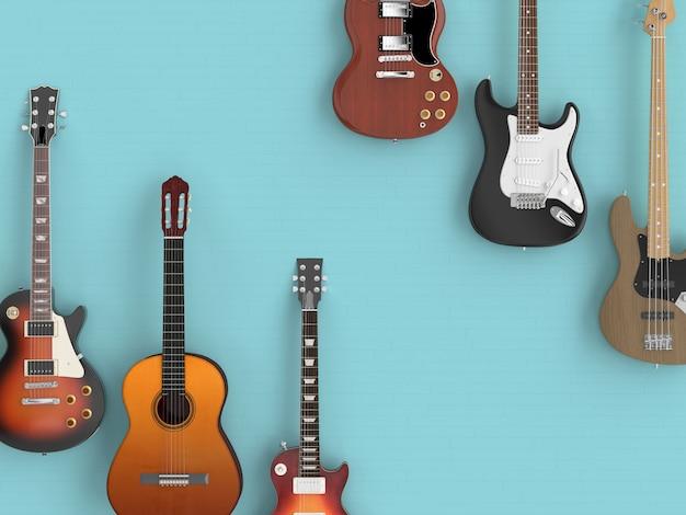 Różne gitary na niebieskiej podłodze, widziane z góry.