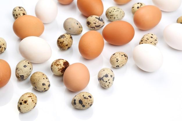 Różne jaja przepiórcze i kurze leżą na białym tle