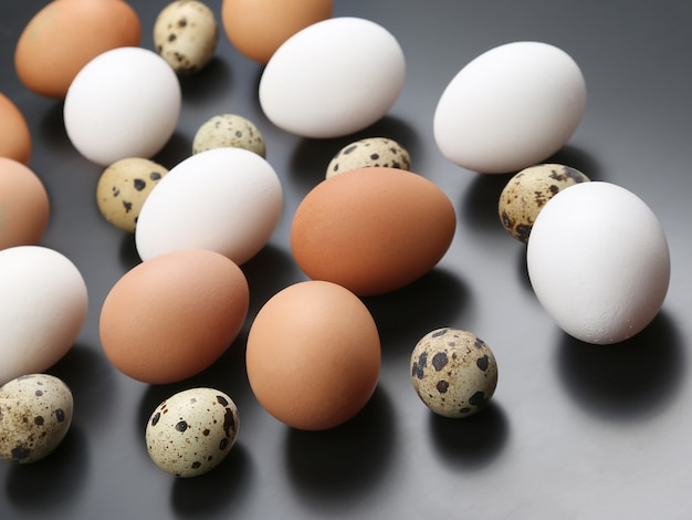 Różne jaja przepiórcze i kurze leżą razem