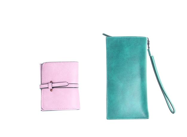 Różne portfele skórzane mody na białym tle