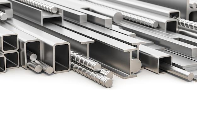 Różne profile metalowe z żelaza.