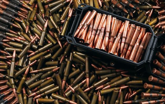 Różne rodzaje amunicji na drewnie