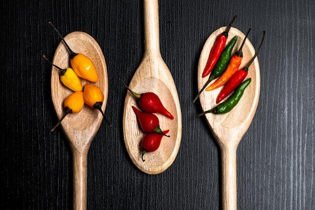 Różne rodzaje czerwonej papryczki chilli i papryki czerwonej z brazylii w drewnianych łyżkach