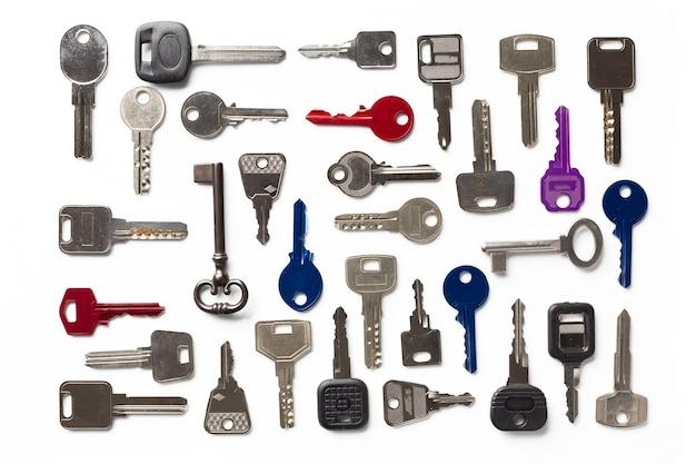 Różne rodzaje kluczy do powielenia w kolejności, widok z góry