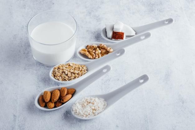 Różne rodzaje mleka roślinnego mleko kokosowe mleko migdałowe mleko orzechowe mleko ryżowe i mleko owsiane