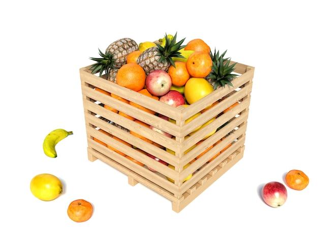 Różne rodzaje owoców przechowywane w drewnianym pudełku