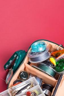 Różne sprzęt wędkarski na kolor tła